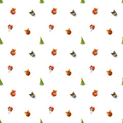 Colorful and graphic Christmas toys icons of balls and xmas tree isolated on white background. Seamless pattern
