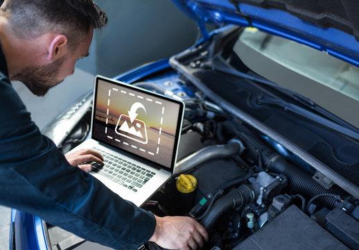 Mechanic Using Laptop Mockup