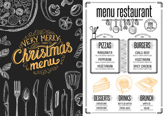 Christmas party invitation, food menu restaurant.