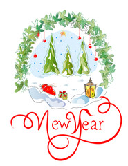 Postcard for the New Year. Vector sketch on a Christmas theme. Greeting card in winter theme.