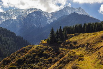 Autumn mountains in Almaty city, Kazakhstan