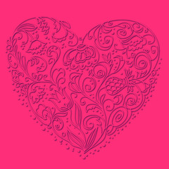 Vector background of heart with floral pattern
