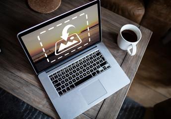 Laptop on Side Table Mockup 1
