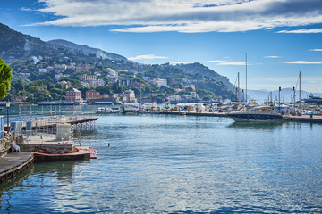 Harbor and city of Santa Margherita Ligure in Italy / Travel Location at mediterranean sea