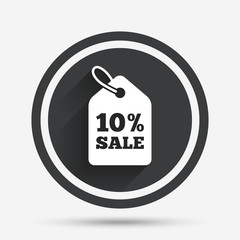 10 percent sale price tag sign icon.