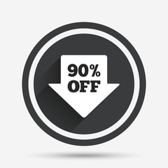 90 percent sale arrow tag sign icon.