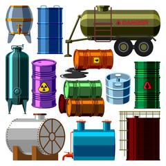 Barrel tanks vector set.