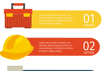 Construction Infographic with Equipment and Tool Icons 2