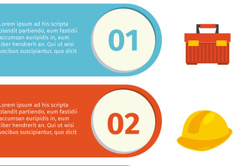 Construction Infographic with Equipment and Tool Icons 4