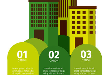 Vertical Tab Ecology Infographic with Cityscape Illustration 2