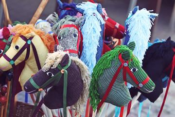 Handmade colorful rocking horses on sale