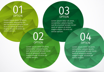 Overlapping Green Circles with Polygon Pattern Infographic