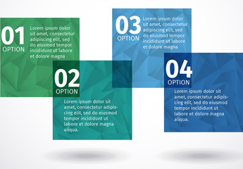 Overlapping Green and Blue Squares with Polygon Pattern Infographic