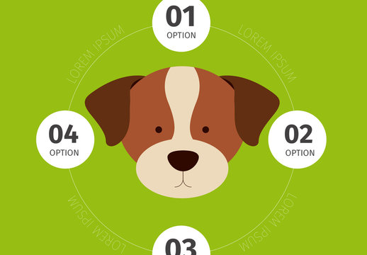 Terrier Face Illustration Dog and Pet Care Infographic on Grass Green Background