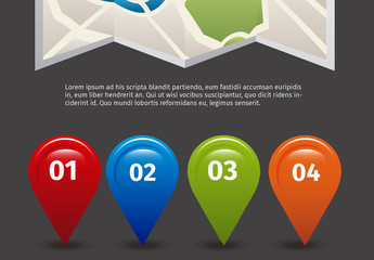 Road Map and GPS Map Locator Icon Set