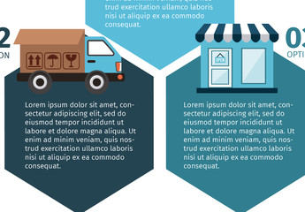 Hexagonal Tile Shipping and Delivery Infographic with Cartoon Style Icons