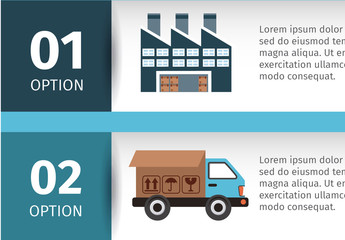 Horizontal Tab Shipping and Delivery Infographic with Cartoon Style Icons