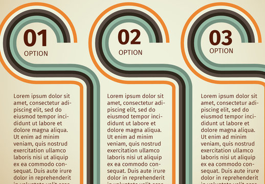 Retro Muted Color Striped Tab Infographic