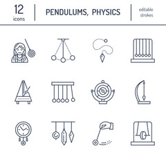 Vector line icon of pendulum types. Newton cradle, metronome, table pendulum, perpetuum mobile, gyroscope. Linear pictogram editable stroke for site, brochure of hypnosis, hypnotherapy. Pendulum logo.