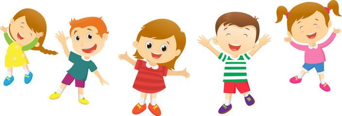 Group of happy kids cartoon