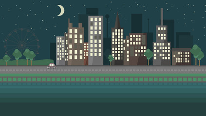 Flat design night urban landscape