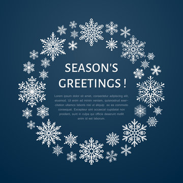 Cute snowflake poster, banner. Seasons greetings. Flat snow icons, snowfall. Nice snowflakes christmas template, cards. New year snowflakes with place for text. Merry Christmas wreath