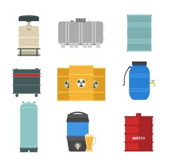 Barrel capacity tanks vector set.