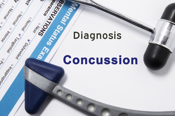 Diagnosis of Concussion. Two neurological hammer, result of mental status exam and name of neurologic psychiatric diagnosis Concussion on a white background or on doctor table