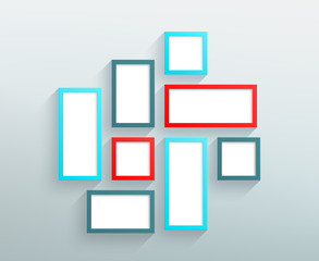 Vector Blank Red Blue Frames On A Wall Design