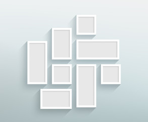 Vector Blank White Frames On A Wall Design