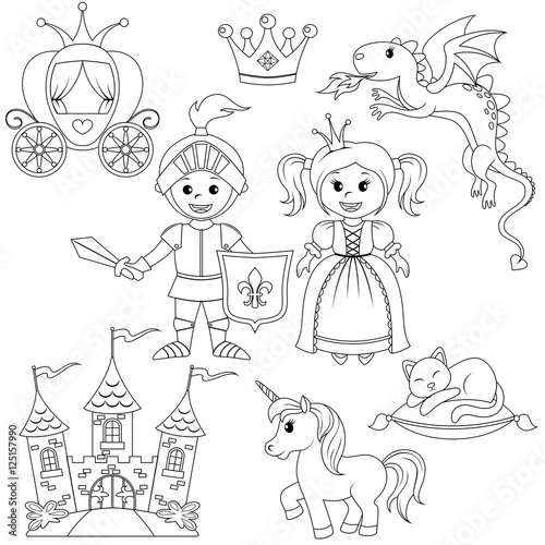 """fairytale princess knight castle carriage unicorn"