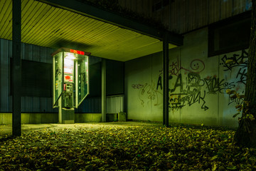 Scary Creepy Green Atmosphere Alone Empty Payphone Ghetto Graffi Wall mural