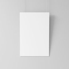 White blank poster mockup hanging on the wall, 3d rendering