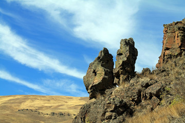 Giant Rocks on a Hillside Overlooking a Valley