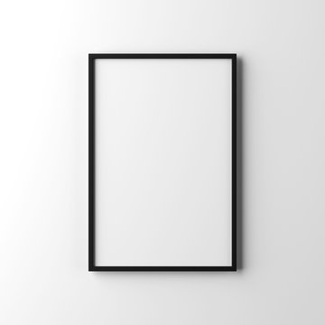 White poster with black frame mockup hanging on the wall, 3d rendering
