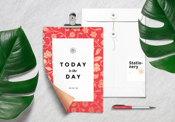 Red Floral Stationery Mockup