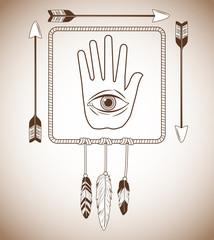 eye inside hand icon. boho style bohemic ornament indian and decoration theme. Pastel background. Vector illustration