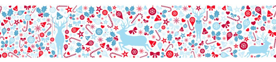 Wall Mural - Weihnachten Deko mit Rentier, Sterne und Weihnachtsmotiv