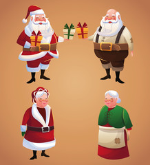 Santa and wife cartoon with gift icon. Christmas season card decoration and celebration theme. Colorful design. Vector illustration