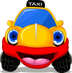Cartoon taxi car with red smile for transportation design