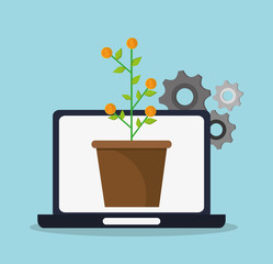 Laptop coins plant and gears icon. digital marketing media and seo theme. Colorful design. Vector illustration