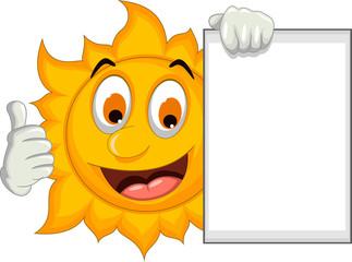 happy sun cartoon thumb up with blank sign