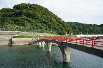 close up of Akebono bridge lower view, Itoigawa city, Niigata, Japan