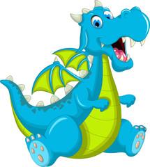 blue dragon cartoon sitting