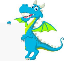 blue dragon cartoon holding blank sign
