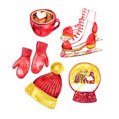 christmas set - hat, mittens, ice cream, chocolate, skating, snow globe