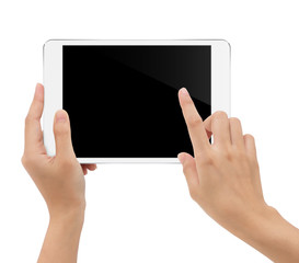 close-up hand holding tablet isolated white background clipping
