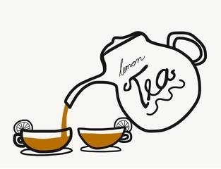 Lemon Teapot and cup illustration