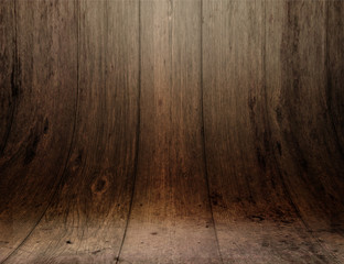 Display background with curved wooden planks