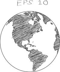 World Map Globe Vector line Sketch Up Illustrator, EPS 10.